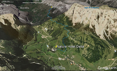 The route from Nature Hotel Delta to Jimmy Hütte.