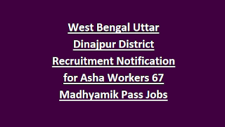West Bengal Uttar Dinajpur District Recruitment Notification for Asha Workers 67 Madhyamik Pass Jobs