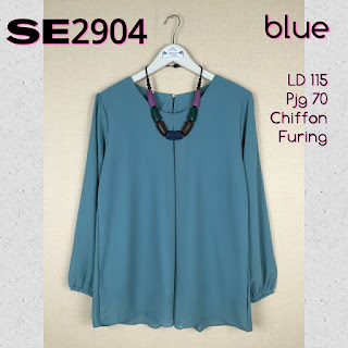 SE2904 Blouse Big Size polos Bahan Chiffon furing