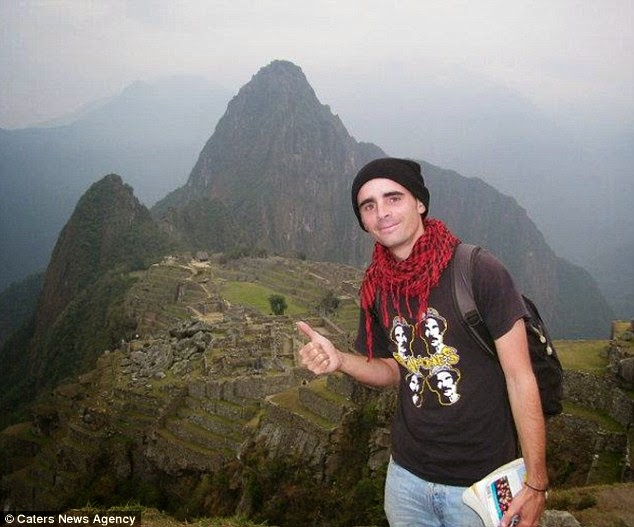 Mr Marie in Machu Picchu, Peru. The Frenchman has visited over 71 countries in the last five years - A Big Thumbs Up. Traveller Hitchhikes 100,000 Miles Around The World Without Spending Any Money