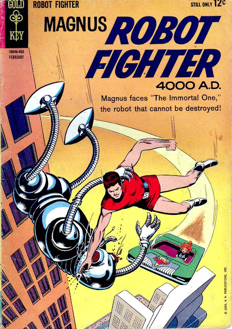 Magnus Robot Fighter v1 #5 gold key comic book cover art by Russ Manning