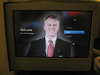 In-seat display in Business Class on American Airlines 777-300ER