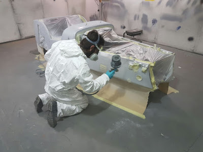 1k Wash Primer being sprayed onto my Caterham Academy Car