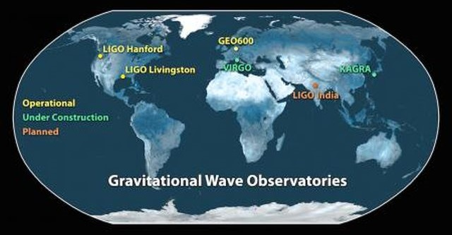 Current operating facilities in the global network include the twin LIGO detectors—in Hanford, Washington, and Livingston, Louisiana—and GEO600 in Germany. The Virgo detector in Italy and KAGRA in Japan are undergoing upgrades and are expected to begin operations in 2016 and 2018, respectively. A sixth observatory is being planned in India. Having more gravitational-wave observatories around the globe helps scientists pin down the locations and sources of gravitational waves coming from space. Credit: LIGO