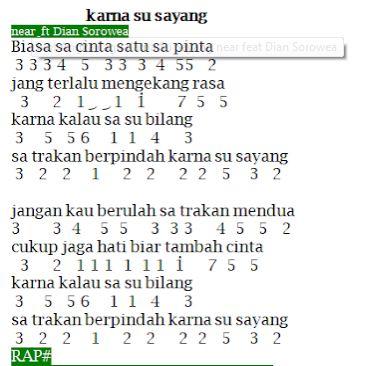 Not Angka Lagu Karna Su Sayang Via Vallen Near Feat Dian Sorewa Kumpulan Not Angka Pianika Lagu Terupdate