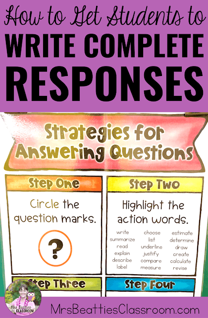 Photo of Strategies for Answering Questions poster with text, How to Get Students to Write Complete Responses.""