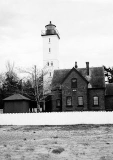 Early photo of the Presque Isle Lighthouse (late 1800s)