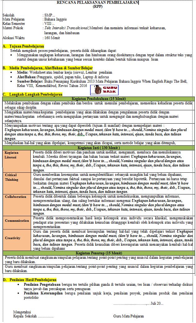 Rpp 1 Lembar Bahasa Inggris Kelas 8 Revisi Terbaru 2020 Semester 1 Dan 2 Lengkap Guru Baik