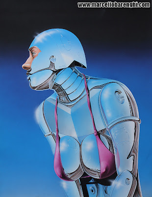 Illustration airbrush hyperrealistic drawing Sexy Robot