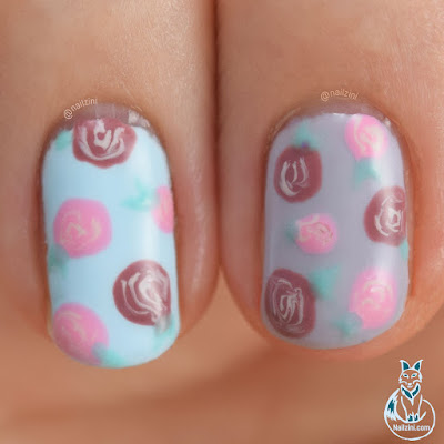 Spring Roses Gel Nail Art Nailzini