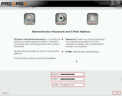 Setelah itu masukkan password dan mail admin lalu klik next