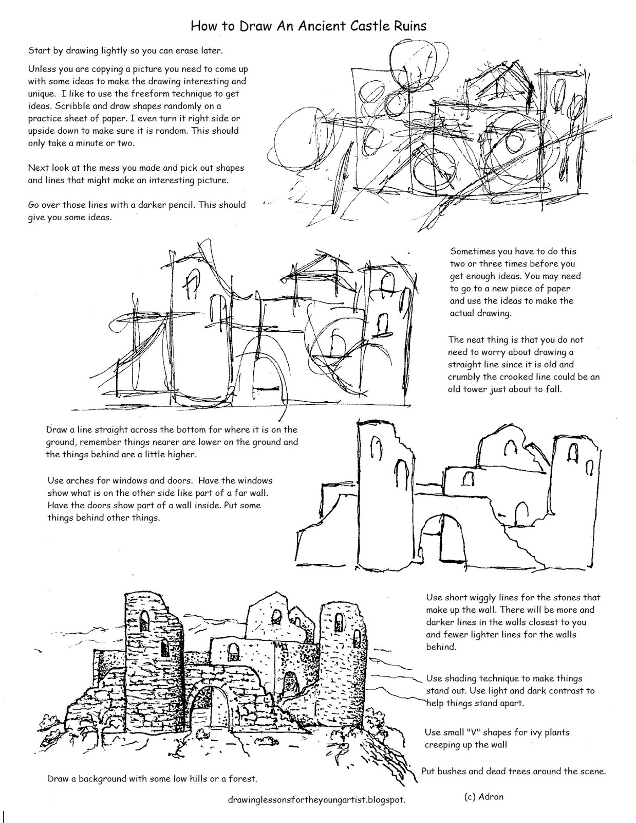 How To Draw Worksheets For The Young Artist Printable How To Draw The Castle Ruins Worksheet