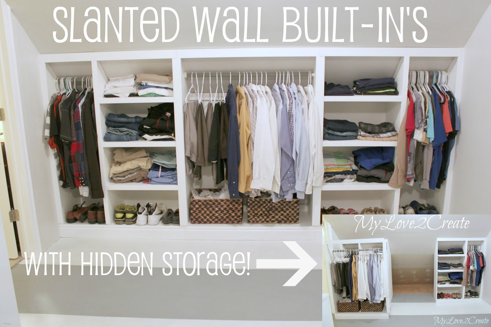 Slanted Wall built ins with Hidden Storage