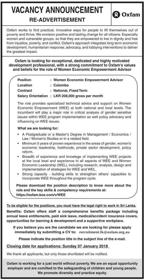 Wemen Economic Empowerment Advisor