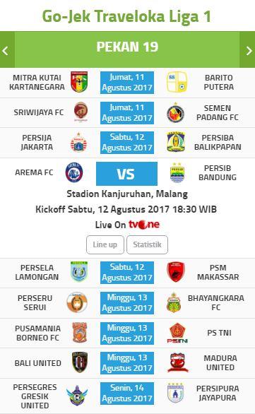 Jadwal Liga 1 2017 Pekan 19 - Siaran Langsung tvOne
