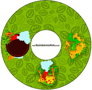 Dinosaurs Party  Free Printable CD Label.