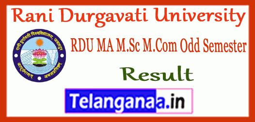 RDU Rani Durgavati University MA M.Sc M.Com 1st 3rd Semester Result