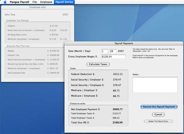 Pangea Payroll 102 for the Mac - a Free Payroll Tax Calculator