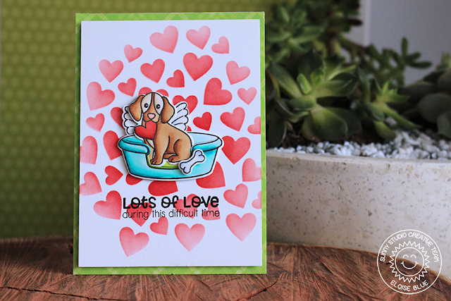 Sunny Studio Stamps: Pet Sympathy Lots of Love Heart Background Sympathy Card by Eloise Blue