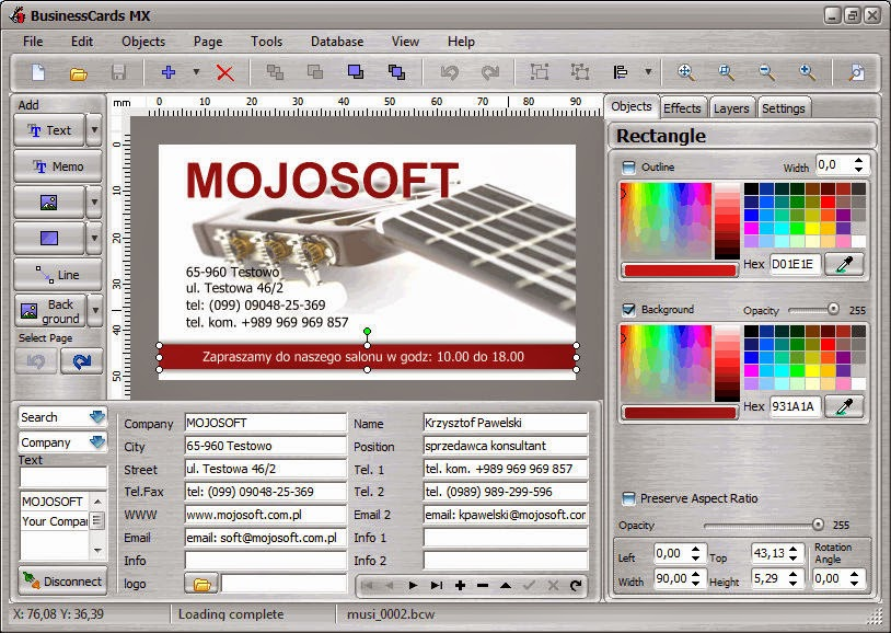 Mojosoft BusinessCards MX v4.93 Image