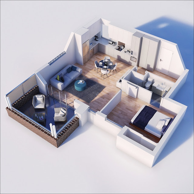 Planta de casa com varanda, sala e cozinha unidas