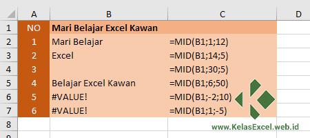 Contoh Fungsi MID Excel