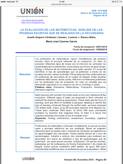 Cárdenas, J.A.; Blanco, L.J. y Cáceres, M.J. 2016  Revista Unión nº 48