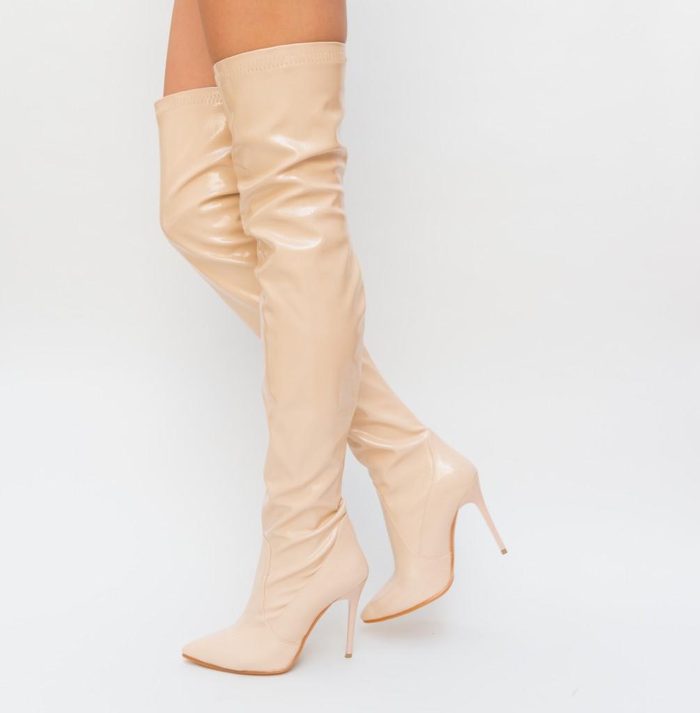 Cizme inalte peste genunchi Bej cu toc inalt piele lacuita elegante