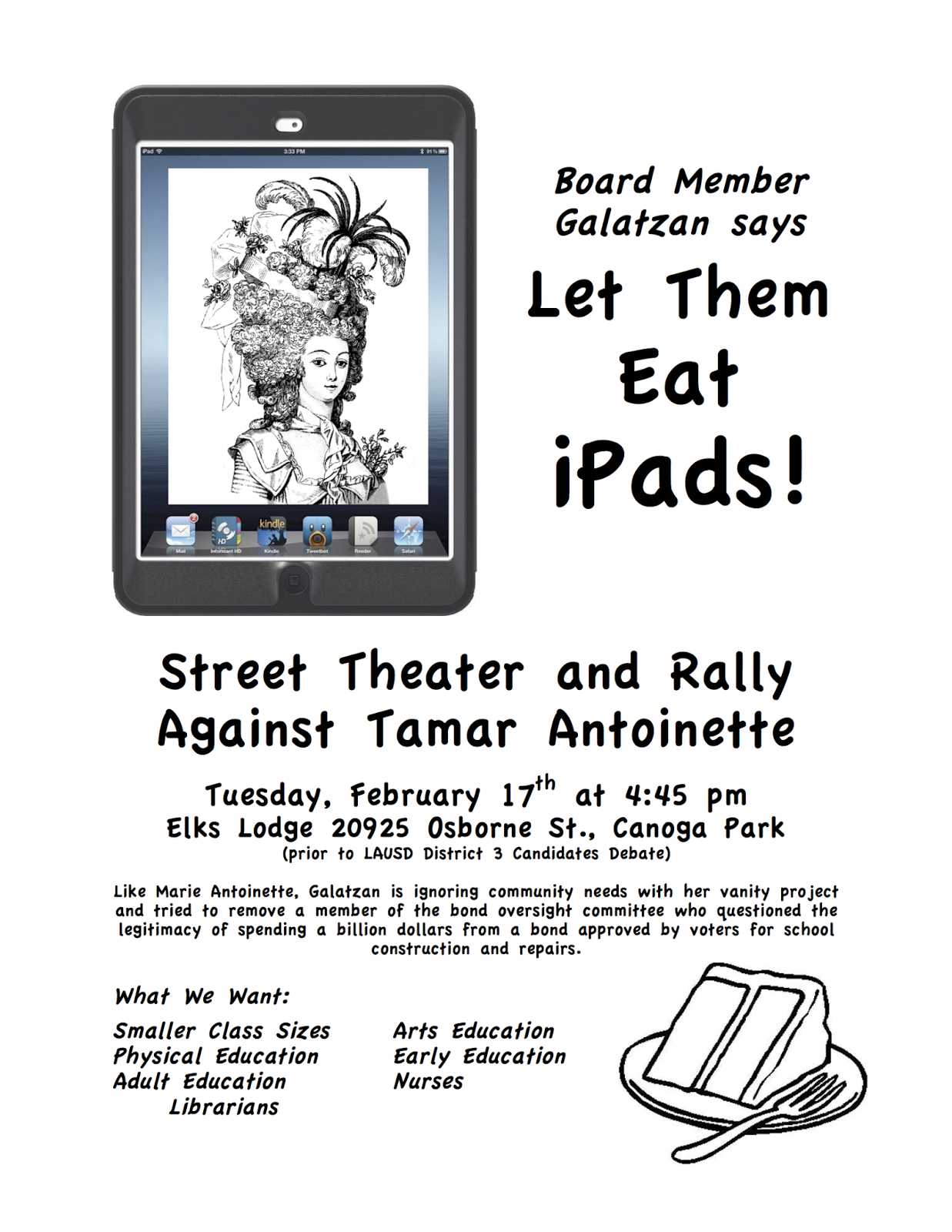 Board Member Galatzan says Let Them Eat iPads!
