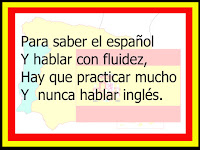 "One of Lonnie Dai Zovi's famous ""Spanish Snappy Sayings  For the Spanish Classroom"" posters that adorn her classroom wall"