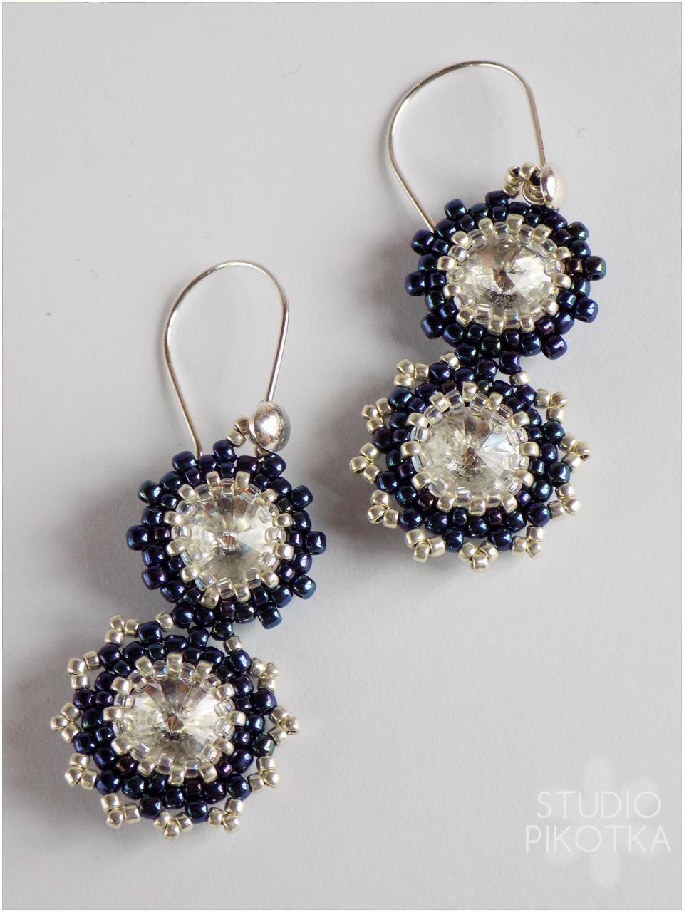 rivoli, kolczyki, peyote, earrings, beading, handmade, biżuteria, rękodzieło, swarovski elements, handmade, jewellery,