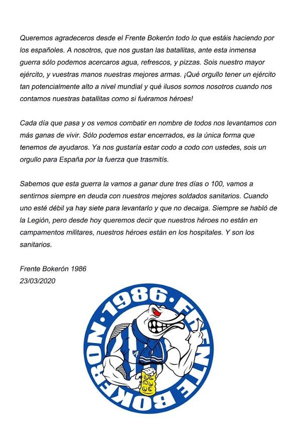 """Frente Bokerón: """"Nuestros héroes están en los hospitales"""""""