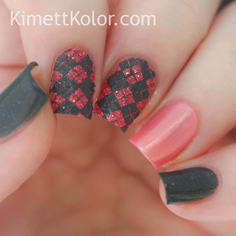 KimettKolor Vivid Lacquer stamping grey pink nail art