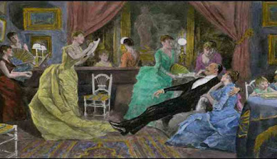 Lukisan pria dengan beberapa pasangan wanita