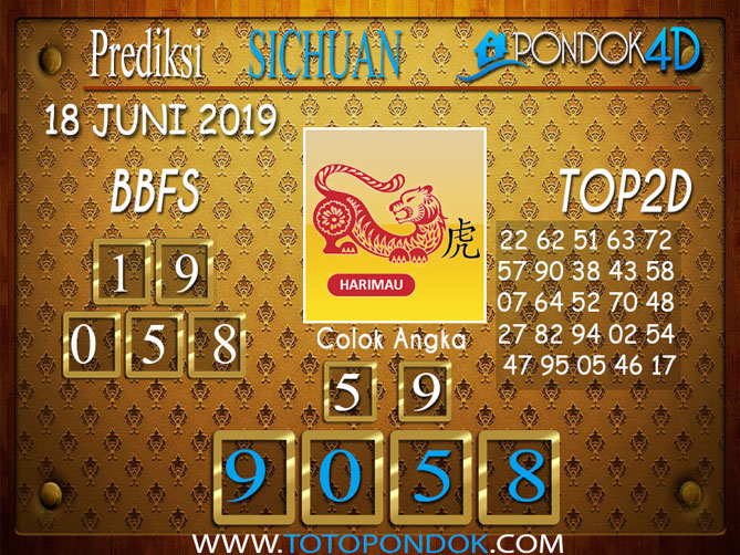 Prediksi Togel SICHUAN PONDOK4D 18 JUNI 2019