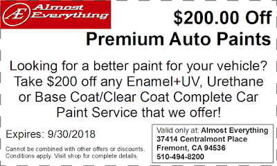 Discount Coupon $200 Off Premium Auto Paint Sale September 2018
