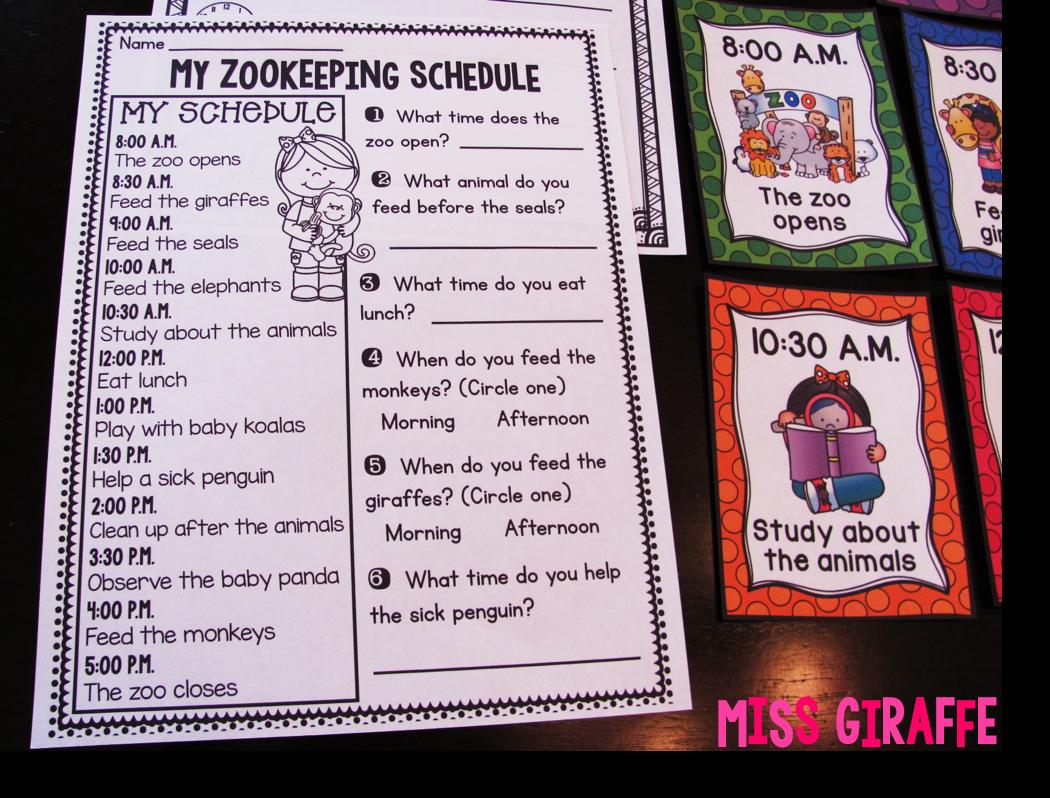 Miss Giraffe\'s Class: Telling Time in First Grade