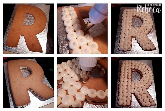Receta tarta abecedario de galleta y crema: montaje