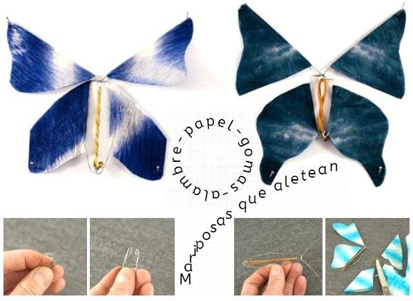 Mariposas magicas de papel que aletean con alambre y gomas