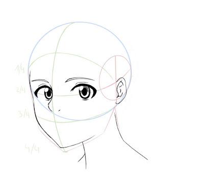 Dessiner un visage manga de côté: dessiner les yeux