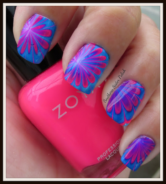 Hot Pink and Navy Water Marble