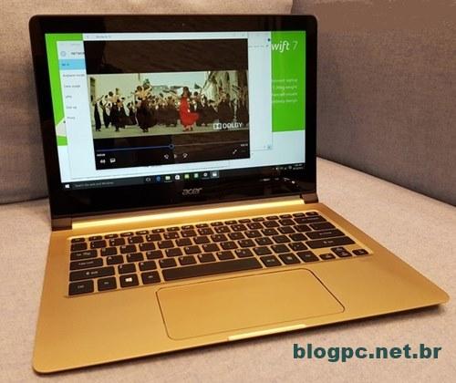 Acer Swift 7 vem com tela de 13,3 polegadas e bateria com duração de 9 horas