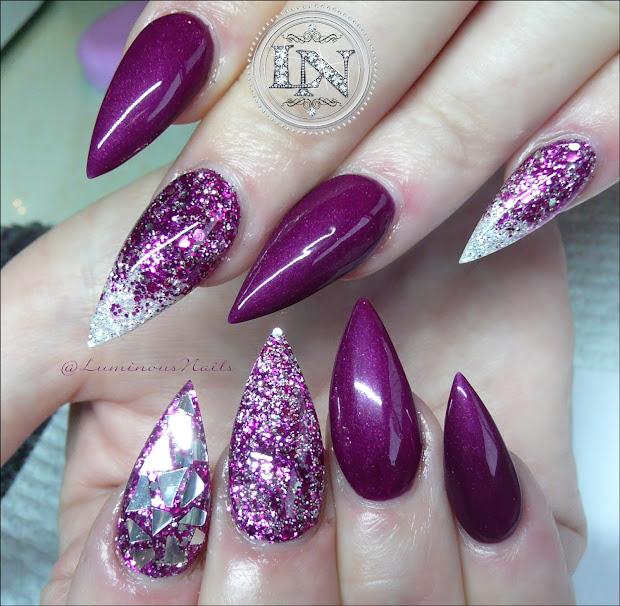 luminous nails plum burgundy acrylic