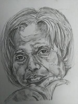 Pencil Drawing of APJ Abdul Kalam - Charan & Gowtham