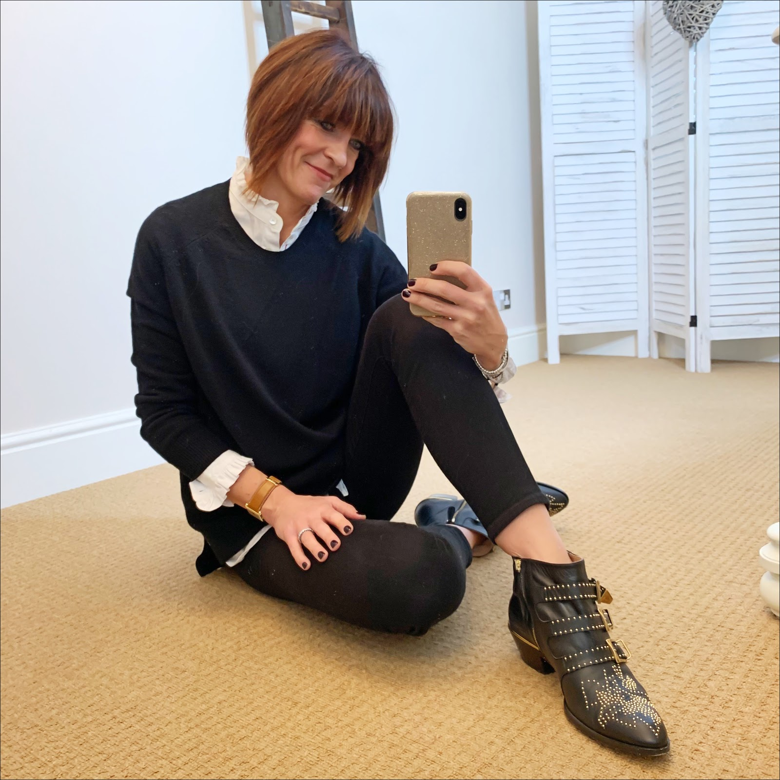 my midlife fashion, uniqlo high collar frill blouse, hush cashmere boyfriend jumper, j crew 8 inch toothpick jeans, chloe susana boots