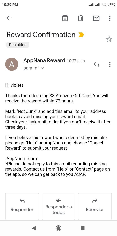 appnana reward confirmation