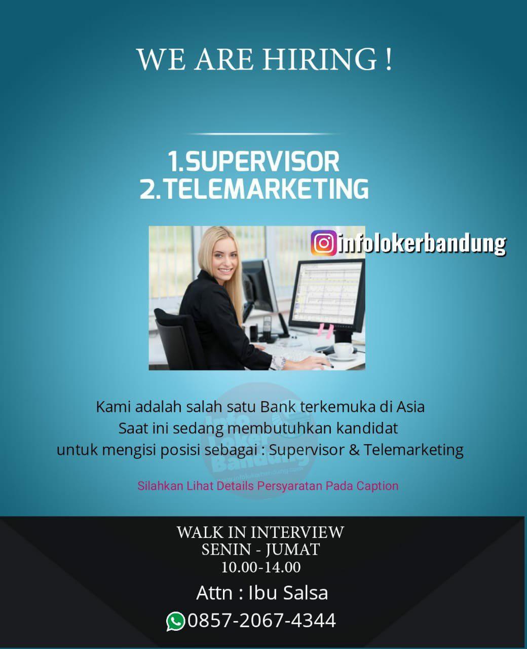 Lowongan Kerja Supervisor & Telemarketing Bandung April 2019