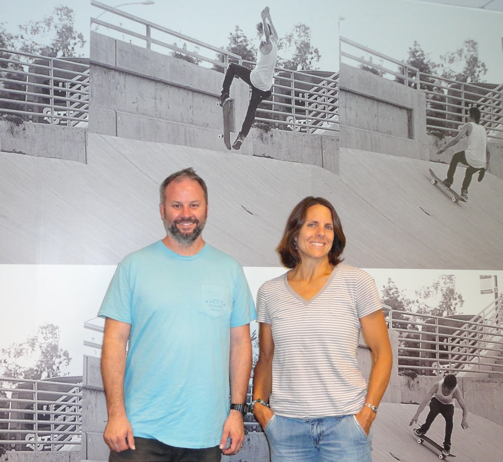 """1c2cc88135 Lamott started her tour of the facilities by taking SurfWriter Girls to see  Vans  """"Timeline"""" mural depicting the evolution of Vans and its products  over the ..."""