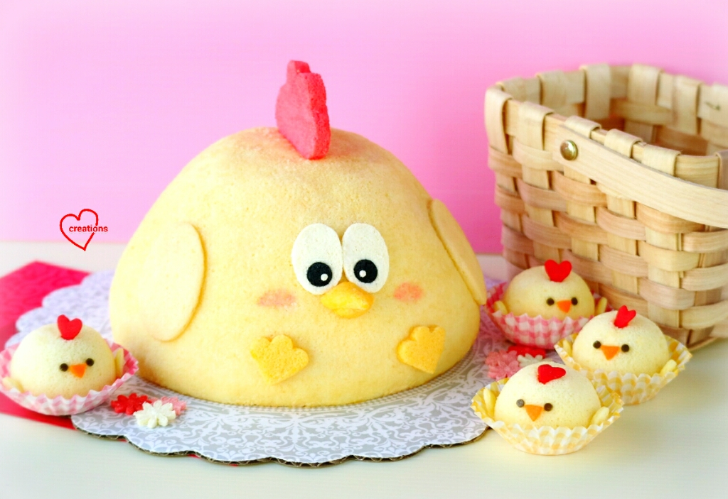 loving creations for you 3d rooster salted egg yolk chiffon cake