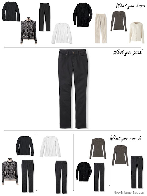 adding black jeans to a black, white and beige travel capsule wardrobe